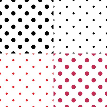 Polka dot seamless pattern set. Fashion graphic background design. Modern stylish abstract texture. Colorful template for prints, textiles, wrapping, wallpaper, decor, website. Vector illustration
