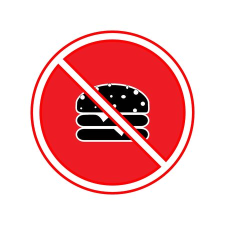 No food sign. Silhouette hamburger in red circle. Sign no meal on white background. Label no eating. Symbol forbidden fast food for poster,banner. Mark warning. Flat vector illustration Çizim