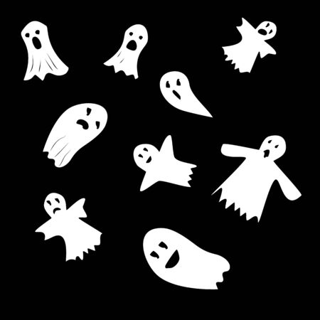 Halloween ghosts. Ghostly monster with scary face shape. Ghost white fun cute evil horror. Fantasy silhouette for scary october. For holiday design or costume, etc. Flat vector. Isolated icons set