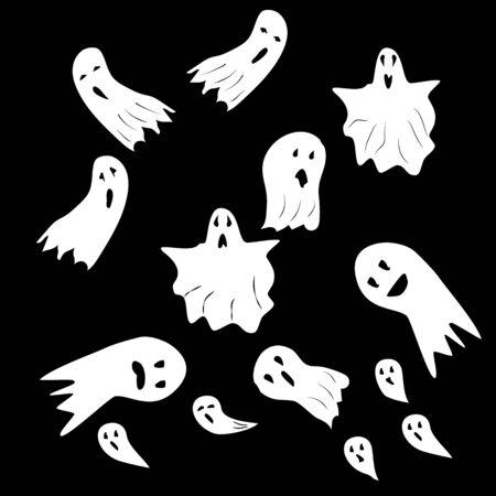 Fantasmi di Halloween. Mostro spettrale con forma del viso spaventosa. Fantasma bianco divertente carino orrore malvagio. Silhouette di fantasia per ottobre spaventoso. Per il design o il costume delle vacanze, ecc. Piatto vettoriale. Set di icone isolate