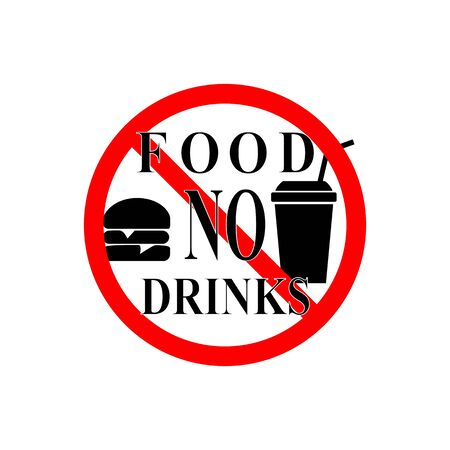 No food and drink sign. Silhouette hamburger in red circle. Sign no meal on white background. Label no eating. Symbol forbidden fast food for poster,banner. Mark warning. Flat vector illustration Stok Fotoğraf - 133385569