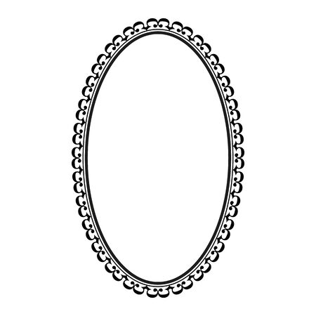 Frame oval with wavy line. Fashion graphic background. Modern stylish abstract texture. Monochrome template for prints, textiles, wrapping, wallpaper, photo, etc. Design element. Vector illustration 일러스트