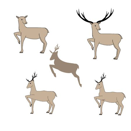 Deer silhouette set. Fashion graphic background design. Modern stylish abstract texture. Monochrome brown template for prints, textiles, wrapping, wallpaper, etc. Vector illustration