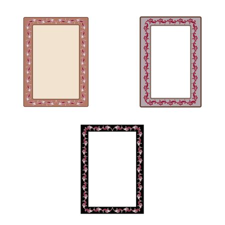 Frame with red twig set. Fashion graphic background. Modern stylish abstract texture. Colorful template for prints, textiles, wrapping, wallpaper, photo, etc. Design element. Vector illustration