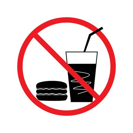 No food and drink set sign. Silhouette hamburger drink in red circle. Sign no meal on white background. Label no eating. Symbol forbidden fast food for poster banner. Card warning. Vector illustration Ilustrace