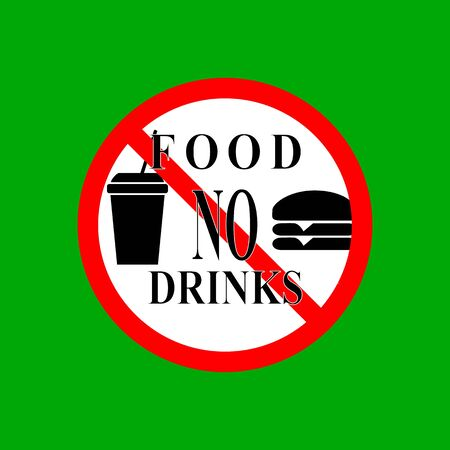 No food and drink set sign. Silhouette hamburger drink in red circle. Sign no meal on white background. Label no eating. Symbol forbidden fast food for poster banner. Mark warning. Vector illustration Ilustrace