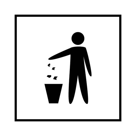 Keep clean place. Do not litter sign. Silhouette person on white background. No throwing garbage mark in white square. Take care of clean nature symbol. Flat vector image. Vector illustration.