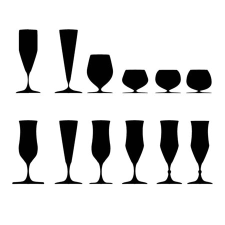 Wine glass black set on white background. Illustration collection silhouette wineglass for celebration and alcohol. Glass for cognac, brandy, rum,liquor, bordeaux. Design element.Vector illustration.