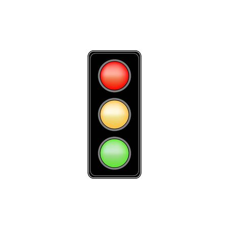 Stoplight sign. Icon traffic light on white background. Symbol regulate movement safety and warning. Electricity semaphore regulate transportation on crossroads urban road. Vector illustration.