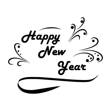 Happy New Year 2019 hand lettering. Fashion graphic background design. Modern stylish abstract texture. Monochrome template for prints, card, poster, banner, etc. Vector illustration.