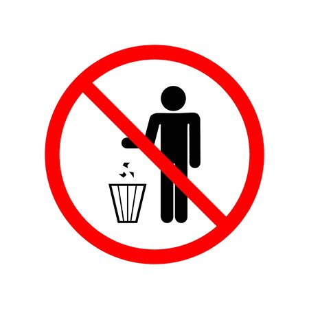 Do not litter sign. Silhouette person on white background in red circle. No throwing garbage mark. Take care of clean nature symbol. Flat vector image. Vector illustration.