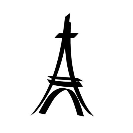 Eiffel tower sign. Black isolated silhouette on white background. Eiffel Tower as symbol of Paris and love. Template for t shirt, apparel, card, poster. Design flat element. Vector illustration