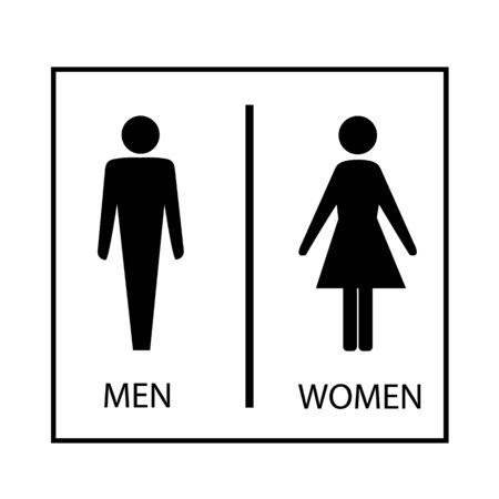 Black silhouette men and women icon in white rectangle. Sign restroom women and men. Icon public toilette and bathroom for hygiene. Template for poster, sign. Flat vector image. Vector illustration Archivio Fotografico - 138505501