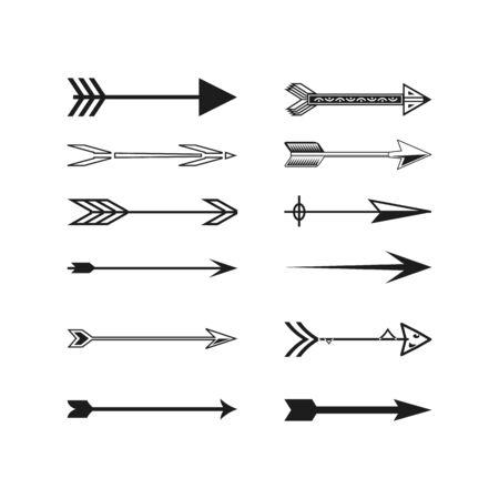 Collezione di frecce. Segnali di direzione della freccia nera in avanti e in basso per la navigazione o il pulsante di download web isolato vettore stretto, destro e set di simboli di freccia di riciclo. Illustrazione vettoriale