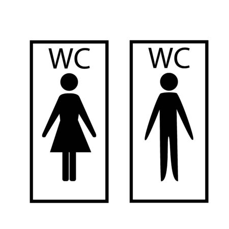 Black silhouette men and women icon in white rectangle. Sign restroom women and men. Icon public toilette and bathroom for hygiene. Template for poster, sign. Flat vector image. Vector illustration Archivio Fotografico - 138505518