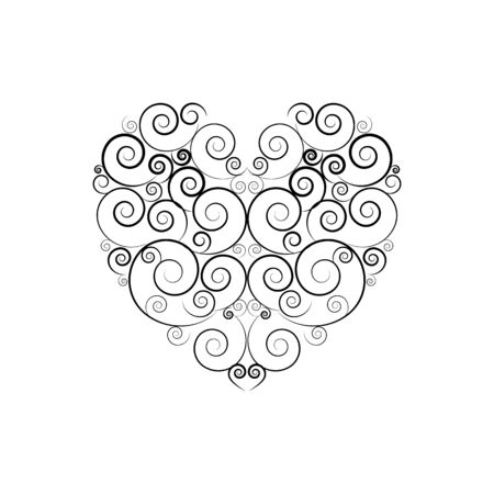 Black decorative heart on white background sign. Symbol linked, join, love, passion and wedding. Template for t shirt, apparel, poster, valentine day. Design element. Vector illustration Illusztráció