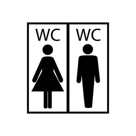 Black silhouette men and women icon in white rectangle. Sign restroom women and men. Icon public toilette and bathroom for hygiene. Template for poster, sign. Flat vector image. Vector illustration