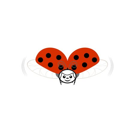 Ladybird isolated. Illustration ladybug. Cute colorful sign red insect symbol spring, summer, garden. Template for t shirt, apparel, card, poster, etc. Design element Vector illustration Archivio Fotografico - 141465919