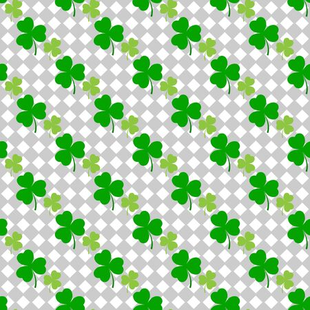 Clover leaf seamless pattern. Symbol fortune, success, traditional ireland festival, holiday St. Patrick. Modern texture. Color template for prints, wrapping, wallpaper etc. Vector illustration. Archivio Fotografico - 141465923
