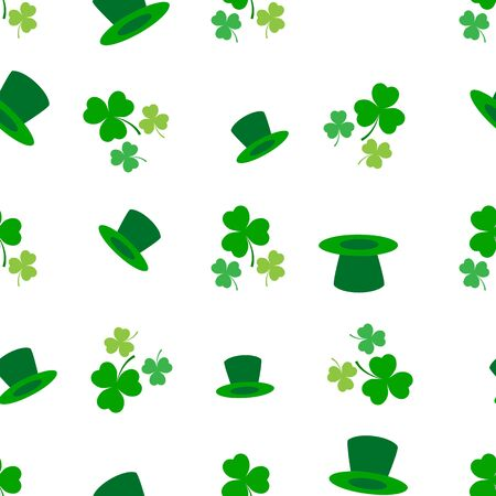 Clover leaf seamless pattern. Symbol fortune, success, traditional ireland festival, holiday St. Patrick. Modern texture. Color template for prints, wrapping, wallpaper etc. Vector illustration. Archivio Fotografico - 141465929