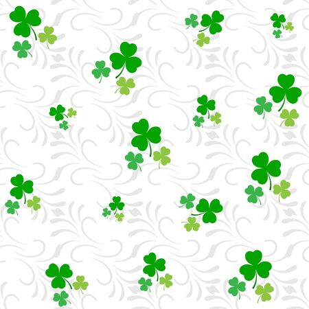 Clover leaf seamless pattern. Symbol fortune, success, traditional ireland festival, holiday St. Patrick. Modern texture. Color template for prints, wrapping, wallpaper etc. Vector illustration. Archivio Fotografico - 141466053