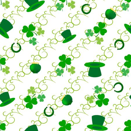 Clover leaf seamless pattern. Symbol fortune, success, traditional ireland festival, holiday St. Patrick. Modern texture. Color template for prints, wrapping, wallpaper etc. Vector illustration. Archivio Fotografico - 141466054