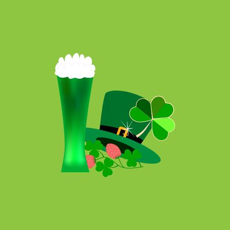 Signs for St. Patricks Day. Clover, hat, glass, mug, symbol magical traditional celtic festival beer, fortune, success, etc. Design element. Color template for prints, banner. Vector illustration Archivio Fotografico - 141466059