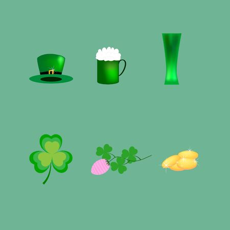 Signs for St. Patricks Day. Clover, hat, coins, glass, mug, cauldron with money symbol magical traditional, celtic festival beer. Design element. Color template for prints, banner. Vector illustration Archivio Fotografico - 141466061