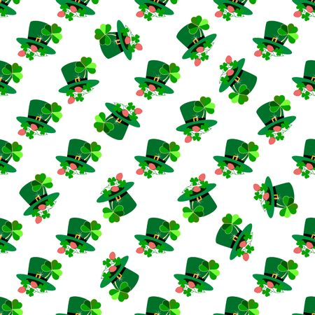 Seamless pattern for St. Patrick Day. Symbol fortune, success, traditional ireland festival. Modern texture. Color template for prints, wrapping, holiday, wallpaper, etc. Vector illustration Archivio Fotografico - 141466062