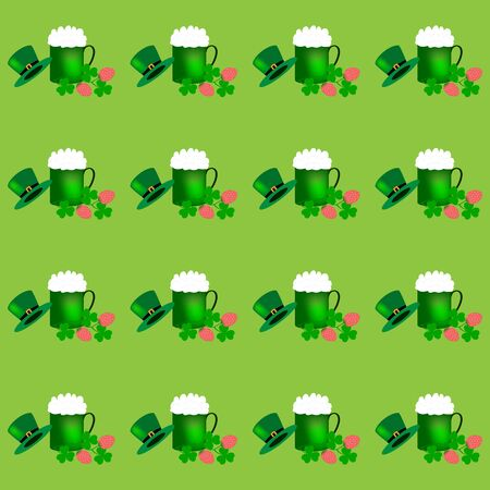 St. Patrick Day background. Symbol fortune, success, traditional ireland festival. Modern texture. Color template for prints, wrapping, holiday, wallpaper, etc. Vector illustration Archivio Fotografico - 141466103