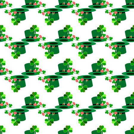 Seamless pattern for St. Patrick Day. Symbol fortune, success, traditional ireland festival. Modern texture. Color template for prints, wrapping, holiday, wallpaper, etc. Vector illustration Archivio Fotografico - 141466127