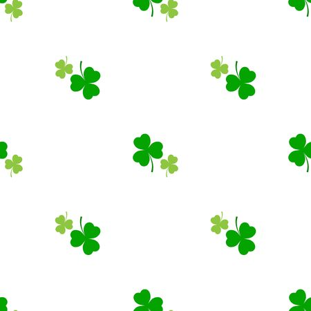 Clover leaf seamless pattern. Symbol fortune, success, traditional ireland festival, holiday St. Patrick. Modern texture. Color template for prints, wrapping, wallpaper etc. Vector illustration. Archivio Fotografico - 141466131