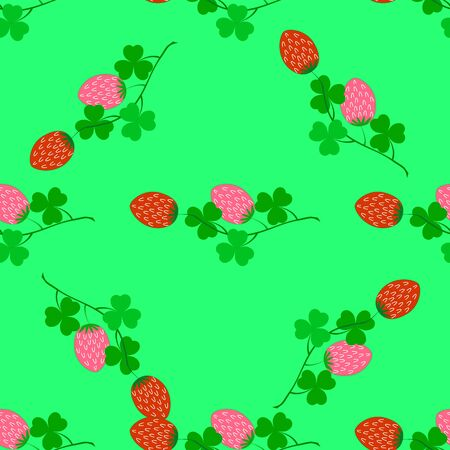 Clover seamless pattern. Symbol fortune, success, traditional ireland festival, holiday St. Patrick. Modern texture. Color template for prints, wrapping, wallpaper etc. Vector illustration. Archivio Fotografico - 141466132