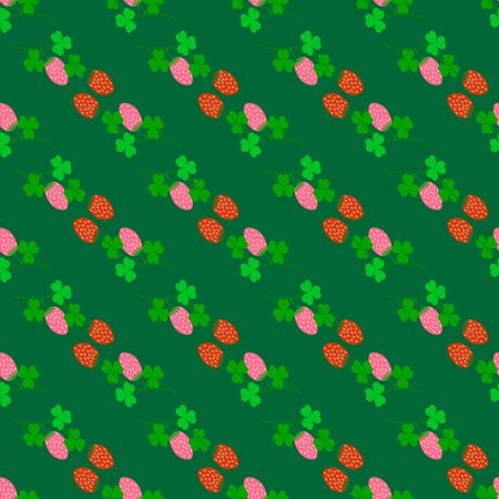 Clover seamless pattern. Symbol fortune, success, traditional ireland festival, holiday St. Patrick. Modern texture. Color template for prints, wrapping, wallpaper etc. Vector illustration. Archivio Fotografico - 141466136