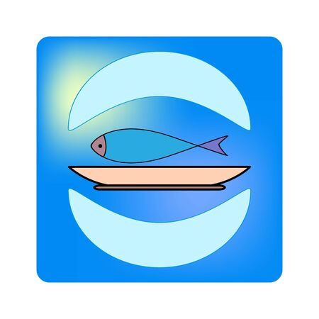 Fish food icon. Silhouette thin flat linear seafood on white background. Illustration for restaurant logo, fish restaurant, club, banner, sign shop etc. Colorful element design. Vector illustration. Archivio Fotografico - 141466146
