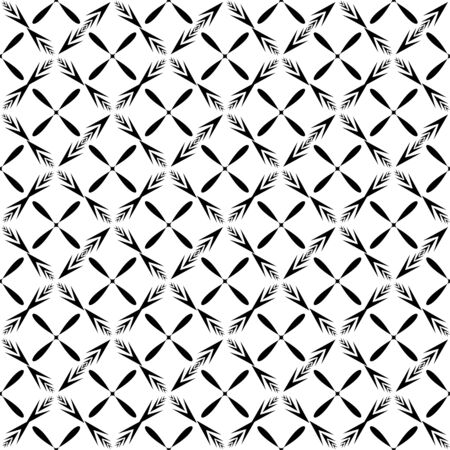 Geometric ornamental with square of arrows seamless pattern. Abstract background design. Modern stylish texture. Monochrome template for prints, textiles, wrapping, wallpaper. Vector illustration Archivio Fotografico - 141466243