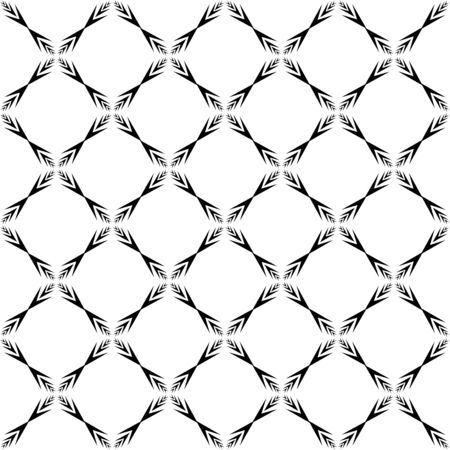Geometric ornamental with square of arrows seamless pattern. Abstract background design. Modern stylish texture. Monochrome template for prints, textiles, wrapping, wallpaper. Vector illustration Archivio Fotografico - 141466201