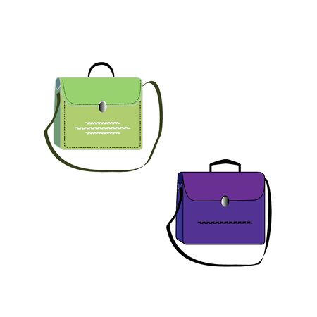 Stylish womens handbag. Fashionable feminine accessory. Trendy leather, glamour accessories of different types isolated on white background. Colorful vector illustration Archivio Fotografico - 141466204
