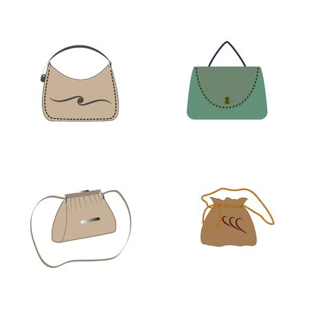 Stylish womens handbag. Fashionable feminine accessory. Trendy leather, glamour accessories of different types isolated on white background. Colorful vector illustration Archivio Fotografico - 141466220