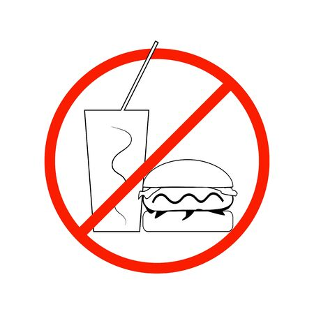 No food and drink sign. Silhouette hamburger drink in red circle. Sign no meal on white background. Label no eating. Symbol forbidden fast food for poster banner. Card warning Vector illustration Archivio Fotografico - 141466208