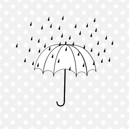 Rain and umbrella on white background. Fashion print for sports wear. Template for t, apparel, card, poster. Design monochrome element. Umbrella as symbol of rain. Vector illustration Archivio Fotografico - 141466209