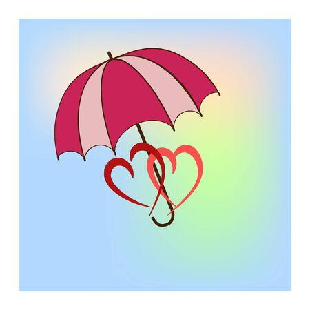 Umbrella and two heart in colorful square. Fashion print for sports wear. Template for t, apparel, card, poster, banner, etc. Design element. Colorful symbol of rain. Vector illustration Archivio Fotografico - 141466212