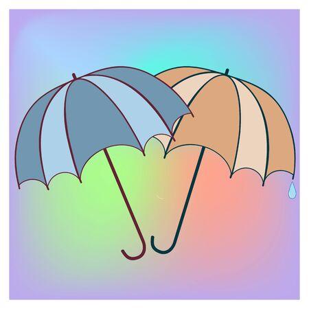 Two umbrella in colorful square. Fashion print for sports wear. Template for t, apparel, card, poster, banner, etc. Design element. Colorful symbol of rain. Vector illustration Archivio Fotografico - 141466214