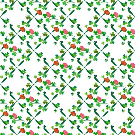 Clover seamless pattern. Symbol fortune, success, traditional ireland festival, holiday St. Patrick. Modern texture. Color template for prints, wrapping, wallpaper etc. Vector illustration. Archivio Fotografico - 141466301
