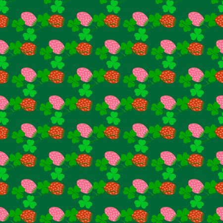 Clover seamless pattern. Symbol fortune, success, traditional ireland festival, holiday St. Patrick. Modern texture. Color template for prints, wrapping, wallpaper etc. Vector illustration. Archivio Fotografico - 141466310