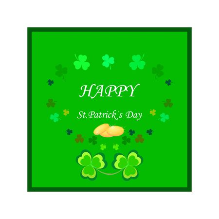 Clover, treasure on green square, lettering HAPPY St. Patrick DAY. Symbol fortune, success, traditional ireland festival. Fashion design Color template for prints, wrapping, etc. Vector illustration Векторная Иллюстрация