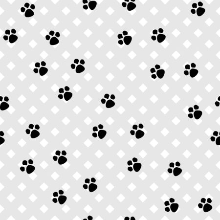 Footprint animal seamless pattern. Imprint on light square background. Fashion graphic design. Modern abstract texture. Monochrome template for prints, wrapping, wallpaper. Vector illustration