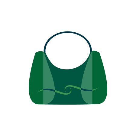 Stylish handbag as a necessary women's accessory. Trendy products for womenfolk, glamour different types isolated on white background. Green design element. Vector illustration Archivio Fotografico - 141466712