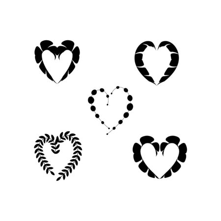 Black decorative hearts on white background sign. Symbol linked, join, love, passion and wedding. Template for t shirt, apparel, card, poster, valentine day. Design element. Vector illustration Archivio Fotografico - 141466724