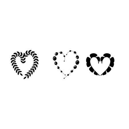 Black decorative hearts on white background sign. Symbol linked, join, love, passion and wedding. Template for t shirt, apparel, card, poster, valentine day. Design element. Vector illustration Archivio Fotografico - 141466725